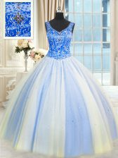 Glamorous Beading and Sequins Sweet 16 Dresses Blue And White Lace Up Sleeveless Floor Length