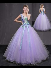 New Arrival Lavender V-neck Lace Up Beading and Belt 15 Quinceanera Dress Sleeveless