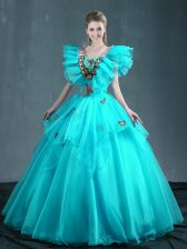 Aqua Blue Lace Up Quinceanera Gowns Embroidery Sleeveless Floor Length
