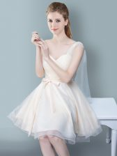 Modest Empire Quinceanera Court Dresses Champagne One Shoulder Tulle Sleeveless Knee Length Zipper
