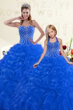 Top Selling Beading and Ruffles Vestidos de Quinceanera Blue Lace Up Sleeveless Floor Length