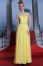 Luxurious Yellow Scoop Side Zipper Lace Prom Dress Sleeveless