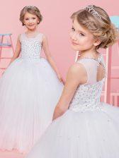 Super Scoop Tulle Sleeveless Floor Length Toddler Flower Girl Dress and Beading