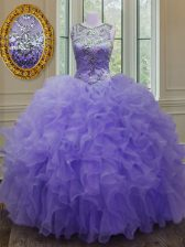 Chic Lavender Ball Gowns Organza Scoop Sleeveless Beading and Ruffles Floor Length Lace Up Sweet 16 Dresses