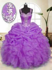 Fantastic Sleeveless Beading and Ruffles and Pick Ups Zipper Quince Ball Gowns