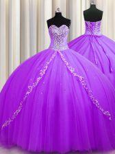 Purple Lace Up 15th Birthday Dress Beading Sleeveless Sweep Train