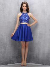 Royal Blue Halter Top Zipper Beading Prom Dresses Sleeveless