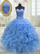 Floor Length Ball Gowns Sleeveless Baby Blue 15th Birthday Dress Lace Up
