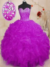 Designer Purple 15th Birthday Dress Military Ball and Sweet 16 and Quinceanera with Beading Sweetheart Sleeveless Lace Up