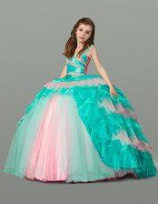 Custom Designed Multi-color Sleeveless Floor Length Beading and Ruffles Lace Up Flower Girl Dress