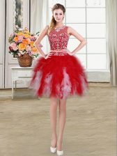Fantastic Red Scoop Zipper Beading and Ruffles Evening Dress Sleeveless
