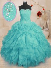 Strapless Sleeveless Organza Sweet 16 Dress Beading and Ruffles Lace Up