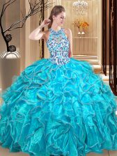 Scoop Sleeveless Floor Length Embroidery and Ruffles Backless Vestidos de Quinceanera with Teal