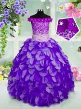 Off the Shoulder Floor Length Lace Up Little Girls Pageant Dress Navy Blue for Party and Wedding Party with Beading and Hand Made Flower