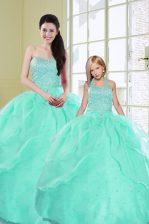 Turquoise Ball Gowns Sweetheart Sleeveless Organza Floor Length Lace Up Beading and Sequins Quinceanera Dresses
