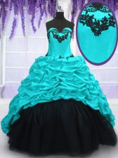 Extravagant With Train Lace Up 15th Birthday Dress Aqua Blue for Military Ball and Sweet 16 and Quinceanera with Appliques and Pick Ups Sweep Train
