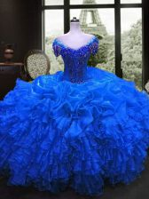 Organza Sweetheart Cap Sleeves Lace Up Beading and Ruffles Sweet 16 Dresses in Royal Blue