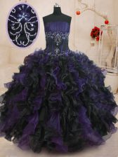 Custom Designed Black And Purple Lace Up Quinceanera Dresses Beading and Ruffles Sleeveless Floor Length