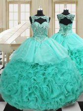 Fashionable Apple Green Scoop Lace Up Beading and Ruffles Sweet 16 Dress Court Train Sleeveless