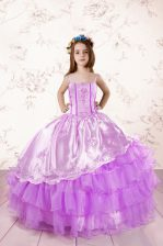 Dazzling Fuchsia Organza Lace Up Little Girls Pageant Dress Sleeveless Floor Length Embroidery and Ruffled Layers