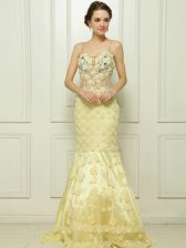 Mermaid Light Yellow Sleeveless With Train Beading and Hand Made Flower Side Zipper Prom Gown