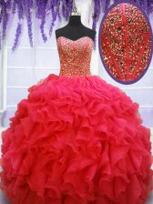 Beading and Ruffles Quinceanera Dress Coral Red Lace Up Sleeveless Floor Length