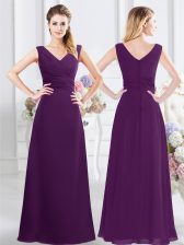 Fine Floor Length Zipper Dama Dress Purple for Prom and Party and Wedding Party with Ruching