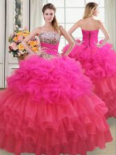 Dazzling Multi-color Organza Lace Up Quinceanera Gown Sleeveless Floor Length Beading and Ruffles and Ruffled Layers and Sequins
