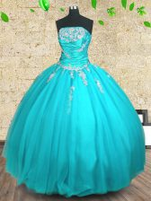 Fabulous Aqua Blue Strapless Neckline Appliques and Ruching Sweet 16 Dress Sleeveless Lace Up