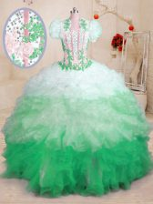 Excellent With Train Multi-color Sweet 16 Dresses Sweetheart Sleeveless Brush Train Lace Up