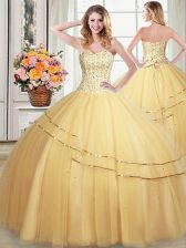 Trendy Sweetheart Sleeveless 15 Quinceanera Dress Floor Length Beading and Sequins Gold Tulle