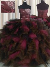 Organza and Tulle Sweetheart Sleeveless Lace Up Beading and Ruffles and Ruffled Layers Quince Ball Gowns in Wine Red