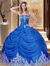 Royal Blue Lace Up Sweetheart Appliques and Pick Ups Quinceanera Gowns Tulle Sleeveless