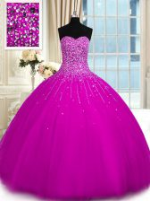 Elegant Sweetheart Sleeveless Lace Up Sweet 16 Quinceanera Dress Fuchsia Tulle