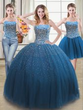 Three Piece Teal Tulle Lace Up Quince Ball Gowns Sleeveless Beading
