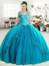 Sleeveless Zipper Floor Length Beading Quinceanera Dress