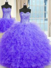 Three Piece Lavender Ball Gowns Beading and Ruffles Quinceanera Dress Lace Up Tulle Sleeveless Floor Length