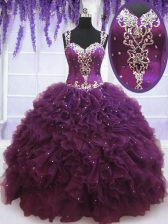 Extravagant Straps Purple Sleeveless Tulle Zipper Quinceanera Gown for Military Ball and Sweet 16 and Quinceanera