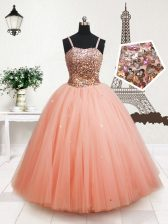Straps Sleeveless Floor Length Beading and Sequins Zipper Little Girls Pageant Dress with Peach