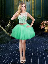 Clasp Handle Scoop Sleeveless Homecoming Dress Mini Length Lace Apple Green Tulle