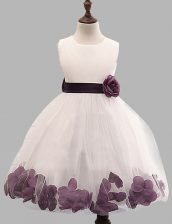 Trendy Scoop White Sleeveless Tulle Zipper Toddler Flower Girl Dress for Party and Wedding Party