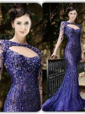 Mermaid Tulle Long Sleeves With Train Prom Dress Brush Train and Beading