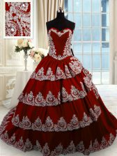 Beading and Appliques and Ruffled Layers Quinceanera Gowns Wine Red Lace Up Sleeveless With Train Court Train