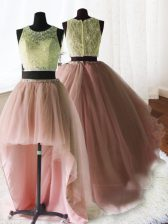 Fantastic Three Piece Baby Pink Organza and Tulle and Lace Zipper Scoop Sleeveless With Train Quinceanera Dress Brush Train Beading and Lace and Ruffles