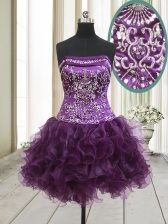 Colorful Strapless Sleeveless Lace Up Prom Evening Gown Dark Purple Organza