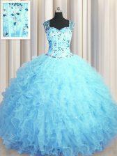 See Through Zipper Up Baby Blue Sleeveless Beading and Ruffles Floor Length Quinceanera Dress