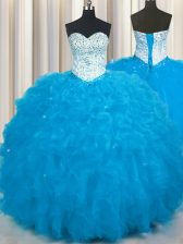 Spectacular Sweetheart Sleeveless Sweet 16 Dresses Floor Length Beading and Ruffles Baby Blue Tulle