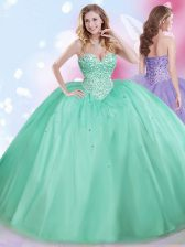Sophisticated Floor Length Lace Up Vestidos de Quinceanera Apple Green for Military Ball and Sweet 16 and Quinceanera with Beading