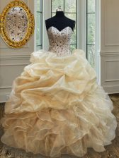 Fine Champagne Ball Gowns Beading and Ruffles 15th Birthday Dress Lace Up Organza Sleeveless Floor Length