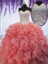 New Style Floor Length Coral Red Quinceanera Dresses Organza Sleeveless Ruffles and Sequins
